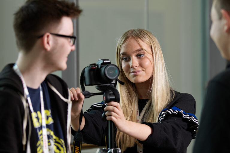 Media students with camera